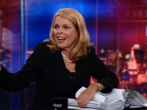 Dr. Betsy McCaughey on the Daily Show, illustrating the size of the Obamacare bill.